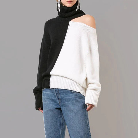 Women's fashion high collar color matching sweater