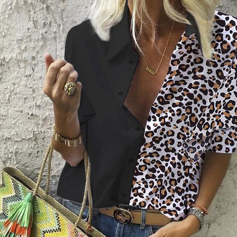 Fashion Leopard Colorblock Loose Long Sleeve Blouse