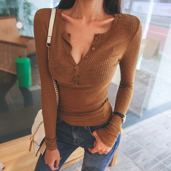 Sexy V Neck Long Sleeve Top