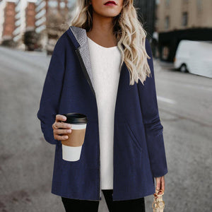 Women's Casual Solid Pocket Hooded Coat
