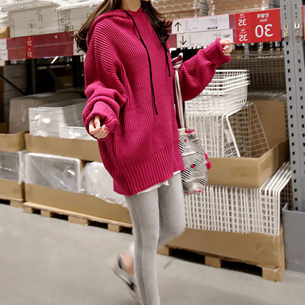 Casual Pure Colour With Hat Loose Knit Hoodie