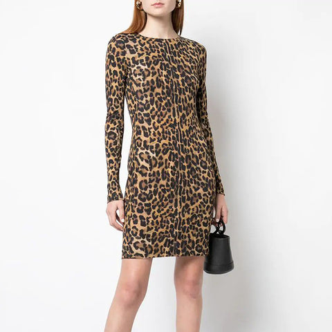 Women's Fashion Printed Color Long Sleeve Dress