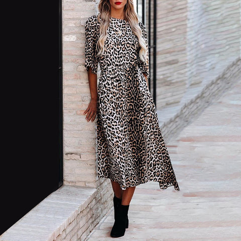 Fashion round neck leopard A-line dress