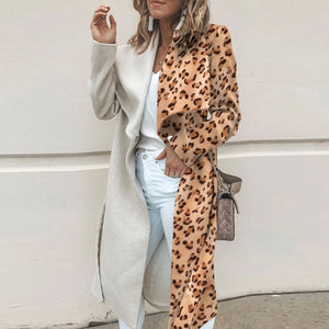 Fashion Leopard Splicing Lapel Belt Long Coat