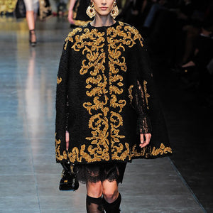 Fashion round neck golden pattern cloak coat BFCM