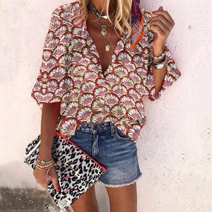Fashionable gold thread fan print shirt