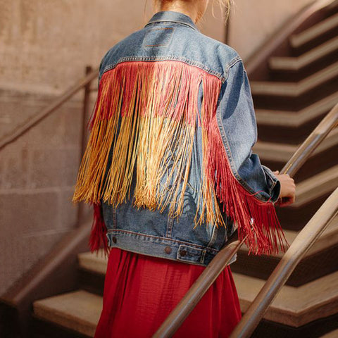Lady fashion colorful tassel denim jacket