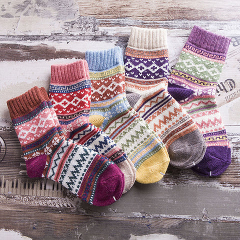Retro thick line ethnic terry socks