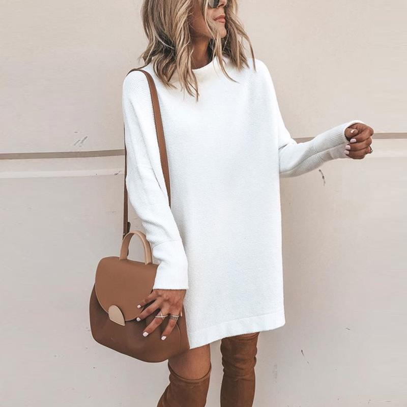 Casual High Neck Knit Dress