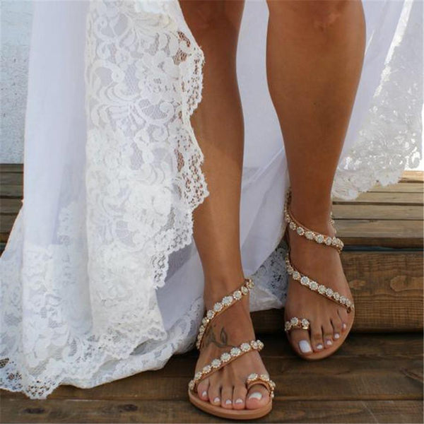 Star Diamond Beach Open Toe Flat Sandals
