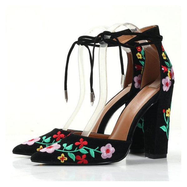 Pointed Embroidered Matte Thick Sandals Female