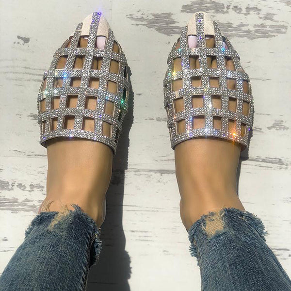 Fashion Hollow Diamond Pointed Sandals