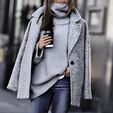 Siena Grey Long Wool Coat