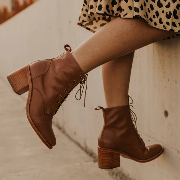 Women Brief Solid Color Thick Heel Lace-up Boots