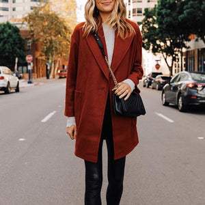 Women's Fashion Casual Solid Color Long Sleeve Coat Jacket