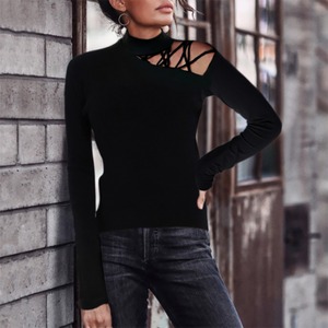 Fashion Hollow High Collar Long Sleeve Knit T-shirt