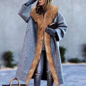 Fashion Loose Fur Collar Overcoat