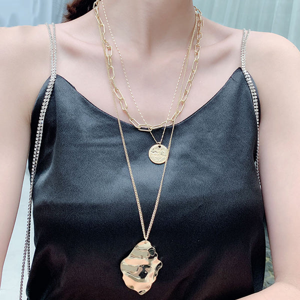 Hip Hop Multi-layer Coin Round Necklace