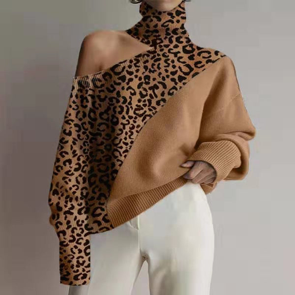 Fashion High Neck Off Shoulder Splicing Leopard Print Sweater