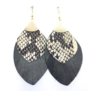 Simple Personality Stitching Animal Print Earrings