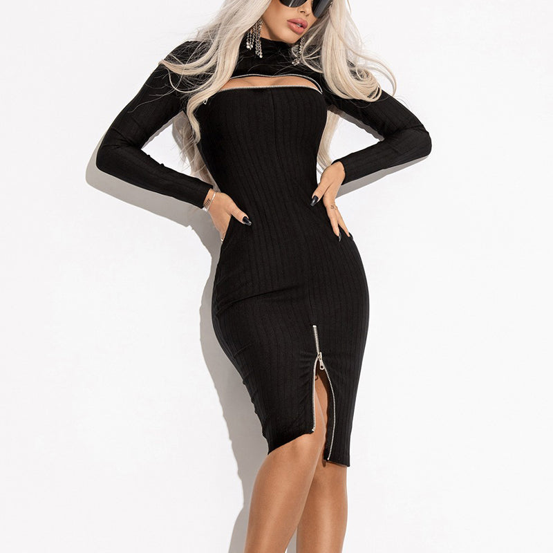 Fashion Punk Short High Collar Split Long Sleeve Dress
