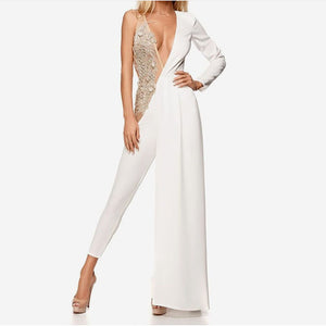 Women's fashion design stitching V-neck jumpsuit