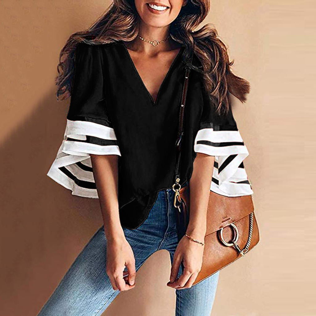 Casual V Neck Bell Sleeve Splicing Blouse