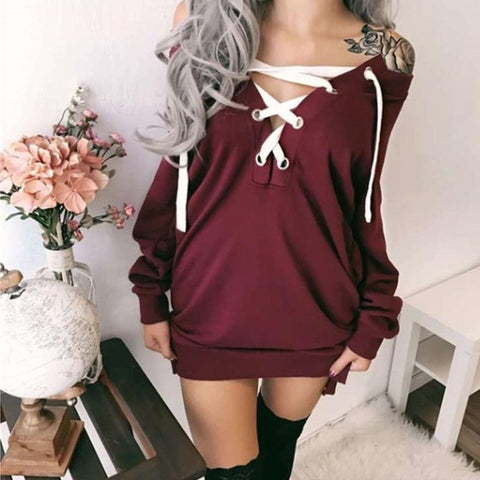 Fashion One-Neck Belted Sweatshirts