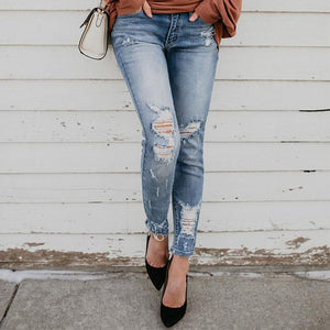 Casual Slim Sexy High   Stretch Ripped Jeans
