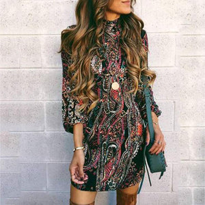 Autumn And Winter   Fashion High-Collared Long-Sleeved Hip Dress