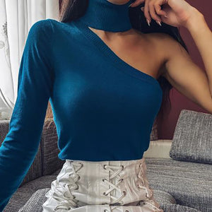 Sexy Off-Shoulder Pure Color Long Sleeve Sweater