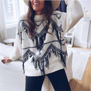 Women's Casual Round Neck Stitching Contrast Sweater