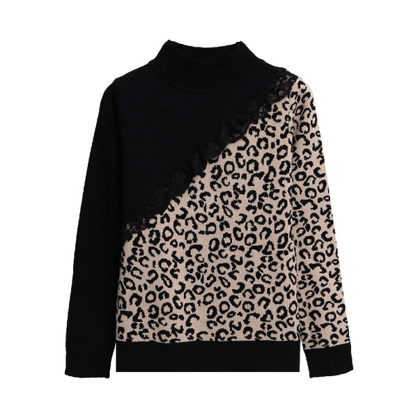 Fashion leopard short high collar lace stitching sweater