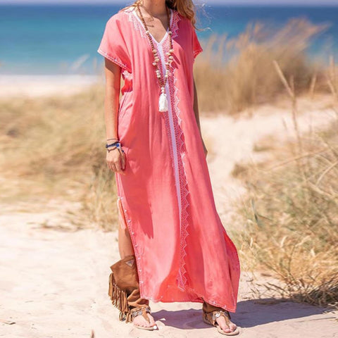 Women's Embroidered V-neck Short Sleeve Split Boho Maxi Dresses