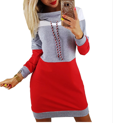 High Collar Colorblock Long Sleeve Casual Sweatshirts