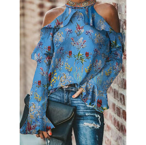 Women's Stylish Casual Print Off-Shoulder Shirt
