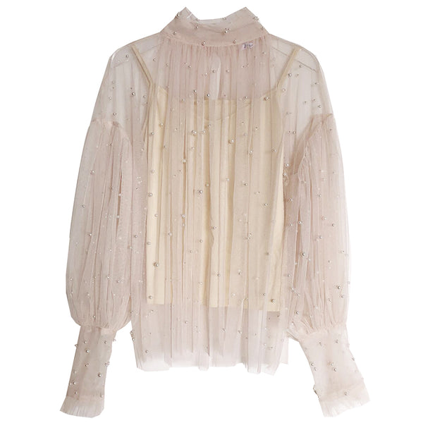 Women's Vintage See-through Pearl Bubble Sleeves Blouse