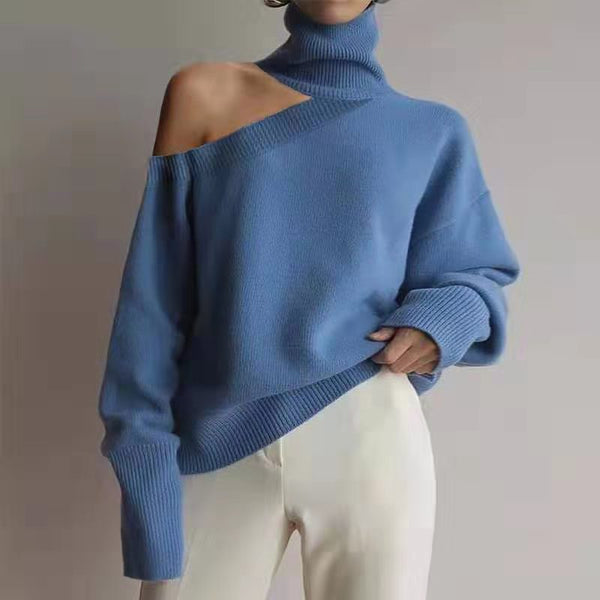 Stylish Off Shoulder High Neck Pure Color Sweater