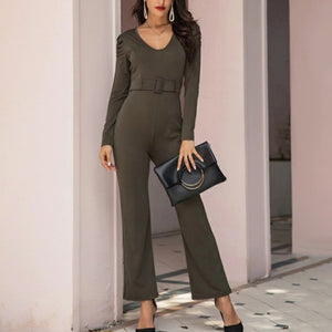 Fashion solid color V-collar jumpsuit
