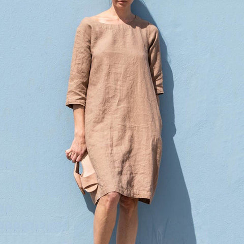 Casual solid color medium sleeve dress