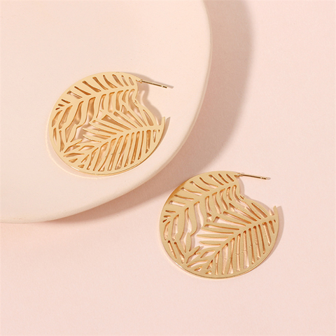 Women's Fashion Openwork Leaf Alloy Earrings
