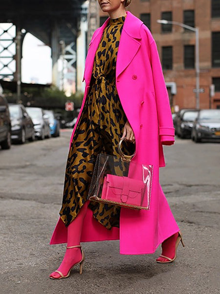 Fashion Bright Solid Colour Overcoat