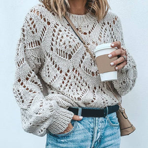 Ladies Fashion Casual Long Sleeve Hollow Sweater