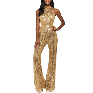 Solid color spliced sequins jumpsuit