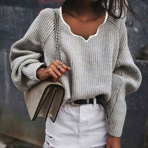 Women's Fashion Pure Color Shoulder Sleeve Loose Sweater