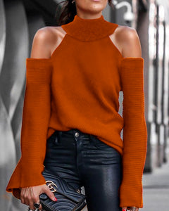 Sexy Openwork Solid Color Sweater