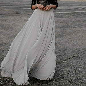 Fashion Pure Colour Chiffon Skirt
