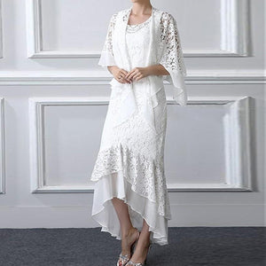 Women's fashion lace shawl irregular fake two-piece dress