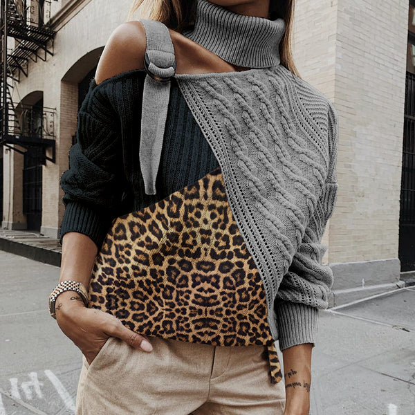 Fashion Leopard Print High Neck Splicing Sweater
