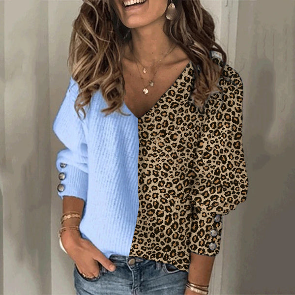 Casual Ladies Leopard Stitching V-Neck Sweater